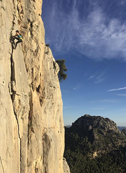 Betsy Lam climbing in El Chorro, Spain